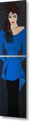 Art Deco  Girl Waiting Metal Print