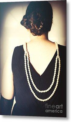 Art Deco Lady In Pearls Metal Print