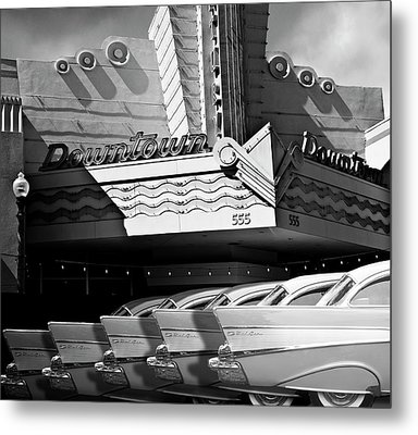 Art Deco Movie Theatre And Chevrolet Belair Metal Print by Larry Butterworth