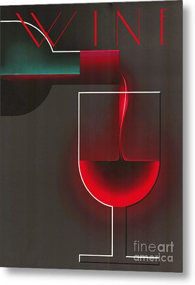 Art Deco Red Wine Metal Print by Mindy Sommers