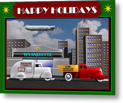 Art Deco Street Scene Christmas Card Metal Print by Stuart Swartz