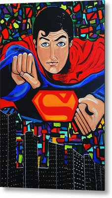 Art Deco  Superman Metal Print by Nora Shepley