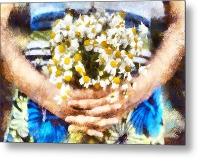 Art Illustration. Watercolor Painting. Beautiful Wedding Bouquet Of Flowers Chamomile In Hands Of Ya Metal Print by Andrew Stepovoy