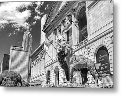 Art Institute In Chicago Black And White Metal Print