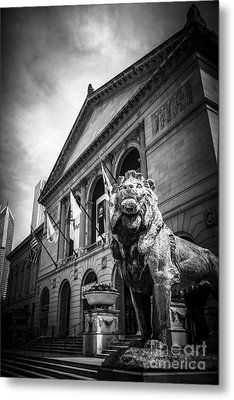 Art Institute Of Chicago Lion Statue In Black And White Metal Print by Paul Velgos