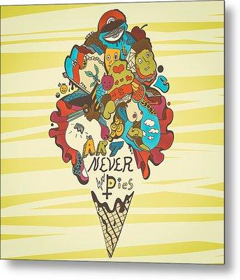 Art Never Dies Ice Cream Illustration Metal Print by Kenal Louis