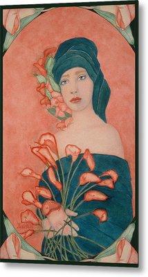 Art Nouveau Cala Lilies Metal Print