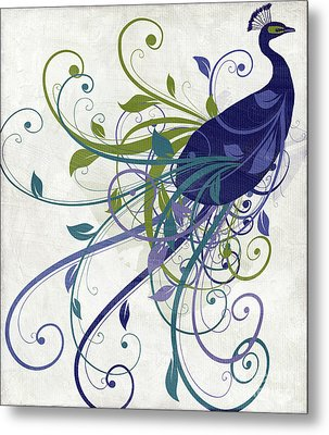 Art Nouveau Peacock I Metal Print by Mindy Sommers
