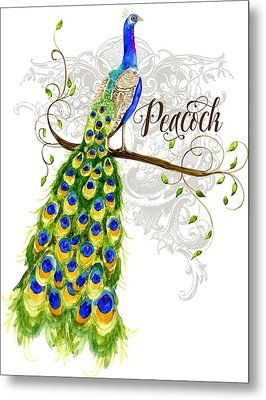 Art Nouveau Peacock W Swirl Tree Branch And Scrolls Metal Print by Audrey Jeanne Roberts