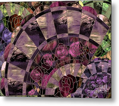 Art Nouveau Stained Glass Fan Metal Print by Mindy Sommers