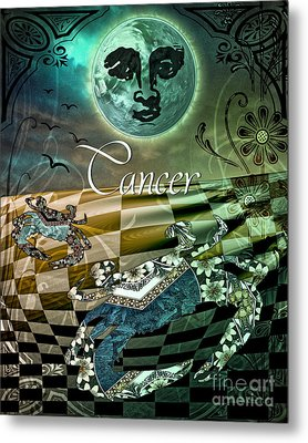Art Nouveau Zodiac Cancer Metal Print by Mindy Sommers