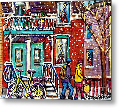 Art Of Urban Montreal Snowy Street Canadian Winter Scene Painting Carole Spandau                     Metal Print by Carole Spandau