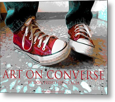 Art On Converse Metal Print