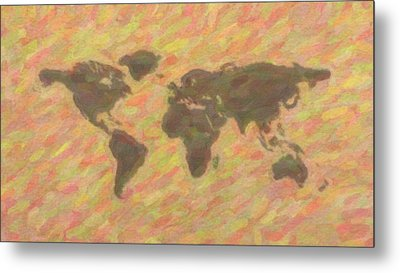 Art World Map Metal Print by Celestial Images