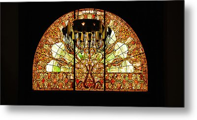 Artful Stained Glass Window Union Station Hotel Nashville Metal Print by Susanne Van Hulst