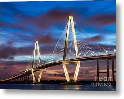 Arthur Ravenel Bridge At Night Metal Print by Jennifer White
