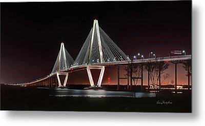 Metal Print featuring the photograph Arthur Ravenel Jr. Bridge At Midnight by George Randy Bass