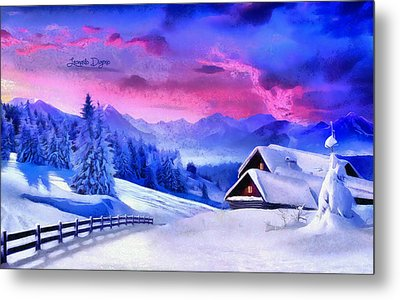 Artic Winter  - Monet Style -  - Da Metal Print