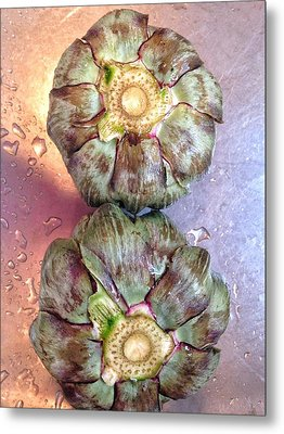 Metal Print featuring the photograph Artichokes In The Sink by Olivier Calas