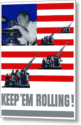 Artillery -- Keep 'em Rolling Metal Print by War Is Hell Store