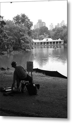 Artist Painting In Central Park Metal Print by Christopher Kirby