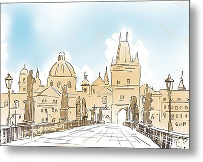 Artistic Digital Painting Of Charles Bridge Prague Metal Print