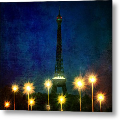 Artistic Version Of Eiffel Tower And Lamp Posts Metal Print