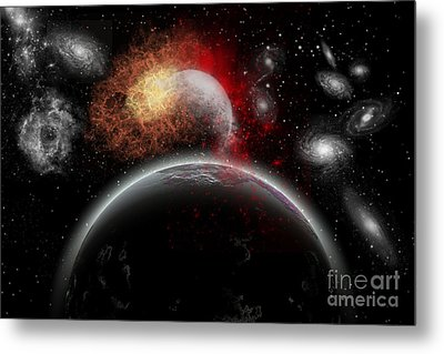 Artists Concept Of Cosmic Contrast Metal Print by Mark Stevenson