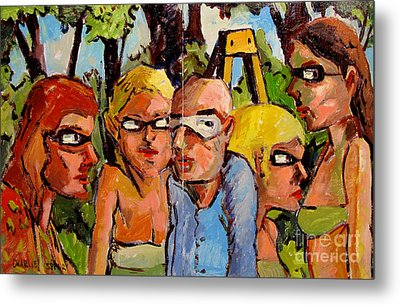 Artists In The Garden Metal Print by Charlie Spear
