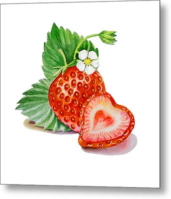 Artz Vitamins A Strawberry Heart Metal Print