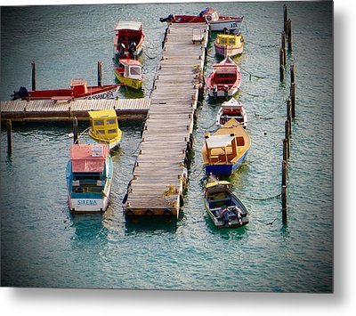 Metal Print featuring the photograph Colorful Fishing Boats by Jean Marie Maggi