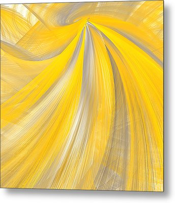 As The Sun Shines - Yellow And Gray Art Metal Print