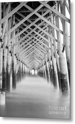 As The Water Fades Grayscale Metal Print by Jennifer White