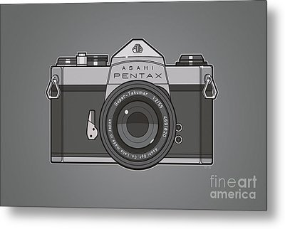 Asahi Pentax 35mm Analog Slr Camera Line Art Graphic Gray Metal Print