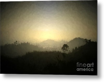 Ascend The Hill Of The Lord - Digital Paint Effect Metal Print by Sharon Soberon