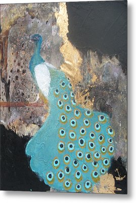 Ashley's Peacock Metal Print by Andrea Friedell