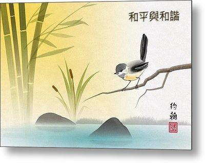Asian Art Chickadee Landscape Metal Print