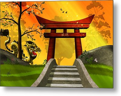 Asian Art Chinese Landscape  Metal Print by John Wills