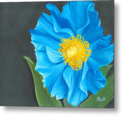 Asian Blue Metal Print by Laura Bell