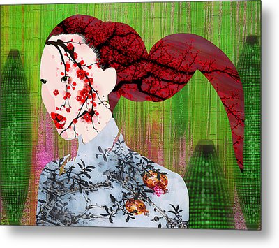 Asian Flower Woman Red Metal Print