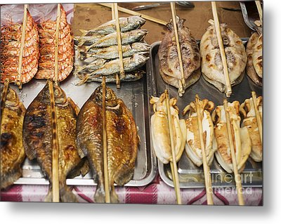 Asian Grilled Barbecued Seafood In Kep Market Cambodia Metal Print