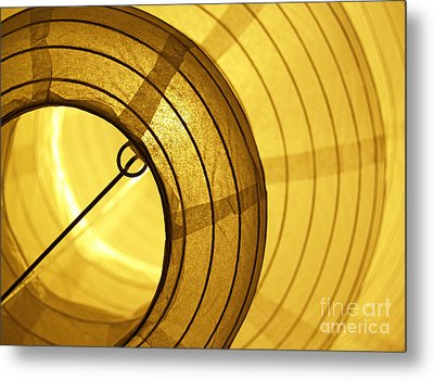 Asian Paper Lantern From Below Metal Print