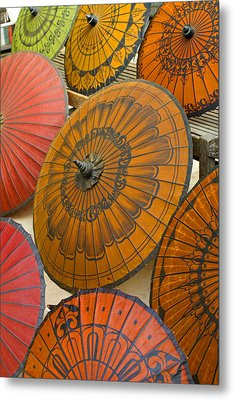 Asian Umbrellas Metal Print by Michele Burgess