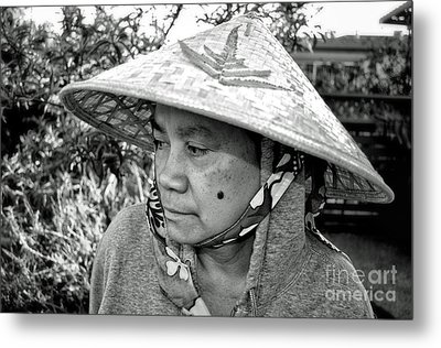 Asian Woman With A Mole On Her Cheek And Wearing A Conical Hat  Metal Print by Jim Fitzpatrick