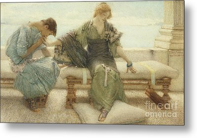 Ask Me No More....for At A Touch I Yield Metal Print by Sir Lawrence Alma-Tadema