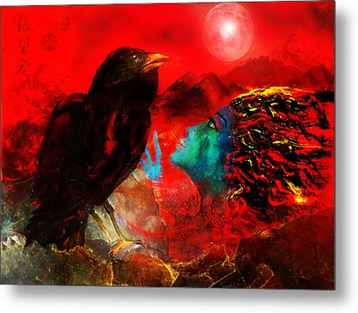 Ask The Raven II Metal Print by Patricia Motley
