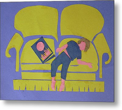Metal Print featuring the mixed media Asleep by Betty Pieper