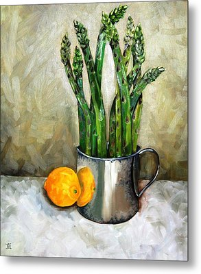 Asparagus In A Sterling Cup Metal Print by Amy Higgins