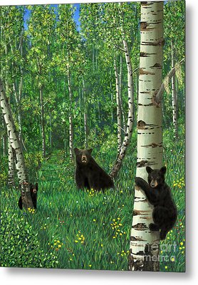 Aspen Bear Nursery Metal Print