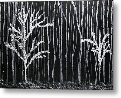 Metal Print featuring the painting Aspen Forest by Dolores  Deal